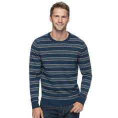 Men's SONOMA Goods for Life™ Coolmax Classic-Fit Crewneck Sweater, Size: Medium, Dark Blue