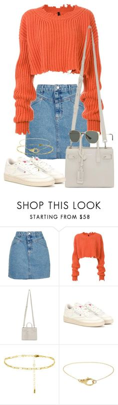 """Sin título #3724"" by camilae97 ❤ liked on Polyvore featuring Topshop, Unravel, Yves Saint Laurent, Reebok and Ray-Ban"