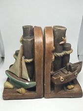Vintage Nautical Bookends by Apsit Brothers of California 1980 Chalkware Signed