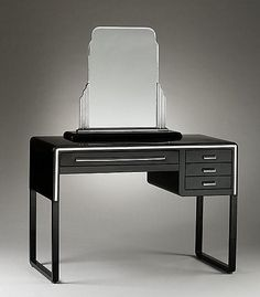 Norman Bel Geddes for Simmons Furniture Company, Dressing Table, ca. 1932. Enameled and chrome-plated steel. Courtesy Metropolitan Museum of Art