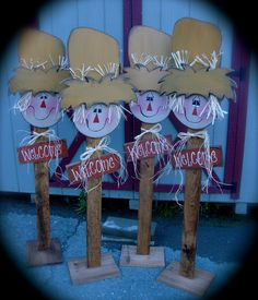 Fall at Fine and Dandelion, LLC. Like us on Facebook! Wooden Halloween Crafts, Fall Wood Crafts, Autumn Crafts, Thanksgiving Crafts, Holiday Crafts, Fall Scarecrows, Primitive Scarecrows, Scarecrow Face, Fall Projects