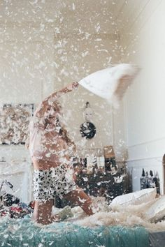 It's a sexy lingerie pillow fight party and you're invited