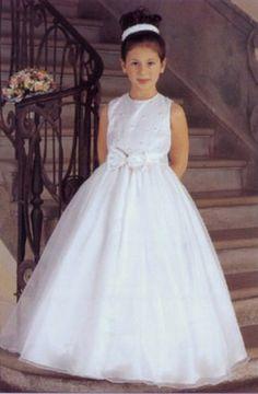 A-line High Neck Natural Waist Long Satin White Flower Girl Dresses Fd028