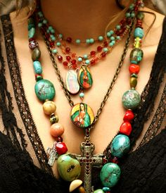 Layered jewelry, chunky cross boho turquoise  red coral  natural stones necklaces, hippie fashion