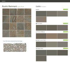 Rustic Remnant. Ayers Rock. Porcelain. Daltile. Behr. PPG Paints. Sherwin Williams. Ralph Lauren Paint. Valspar Paint.  Click the gray Visit button to see the matching paint names.