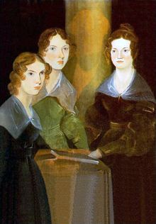 """This painting is by their brother, Branwell, who later painted himself out of the portrait (the """"golden boy"""" of the family, he did not do well, and struggled with alcoholism). The painting was discovered folded up in a cupboard, but now is in the National Portrait Gallery in London. / the three Bronte sisters Anne, Emily, and Charlotte...."""