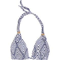 Vix Razi printed triangle bikini top ($68) ❤ liked on Polyvore featuring swimwear, bikinis, bikini tops, blue, swimsuit tops, vix swimwear, vix bikini, neck-tie and blue tankini top
