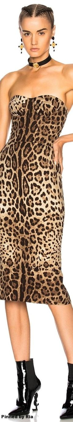 Dolce & Gabbana Printed Ruched Tank Dress In Leopard