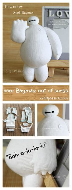 Full pattern and tutorial to show you how to sew sock Baymax, the cute robot in Big Hero 6 who is clumsy squishy in white vinyl balloon with 2-dots eyes.