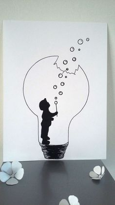 "Poster Illustration Black and white bulb ""the strength of childhood"": Displays"