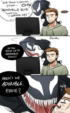 In Venom movie we saw the relationship between Symbiote and human. Venom and Eddy Brock gets so much closer they always argue about eating good peoples, bad peoples or really bad peoples. Well, it is clear Venom Comics, Marvel Comics, Marvel E Dc, Marvel Venom, Marvel Avengers, Venom Spiderman, Avengers Fan Art, Funny Marvel Memes, Marvel Jokes