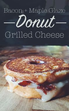 20 Insanely Awesome Eggless Breakfast Sandwich Recipes from buzz worthy Chicken and Waffles to classic smoked salmon bagels.: Donut Grilled Cheese with Bacon and Maple Glaze (Grilled Cheese Classic) Gourmet Sandwiches, Cheese Sandwich Recipes, Breakfast Sandwich Recipes, Pizza Sandwich, Party Sandwiches, Grilled Cheese Recipes, Grilled Sandwich, Savory Breakfast, Grilled Cheese Sandwiches