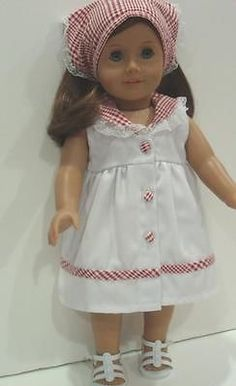"DRESS W/CHECKER TRIMS & BANDANNA - 18"" Girl Doll Clothes - An American Boutique"