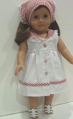 "DRESS W/CHECKER TRIMS & BANDANNA - 18"" Girl Doll Clothes - An American Boutique"