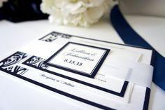 Navy Wedding Invitation, Damask Wedding Invitation, Belly Band, Elegant, Navy Blue Wedding Invitation, Blue Wedding Invites - DEPOSIT