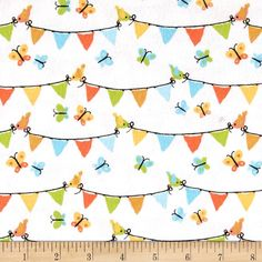 Michael Miller Nature Babies Flannel Pennant Panel Aqua from @fabricdotcom  Designed by Michael Miller fabrics, this single napped (brushed on face side) flannel fabric is perfect for quilting, apparel and home décor accents. Colors include shades of grey, orange, coral, yellow, green and white.