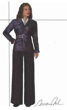 "Concept art of Peggy Carter in reconnaissance outfit with leather duster by Giovanna Ottobre-Melton from ABC's ""Agent Carter"" (2015).  The military aspects of her coat reference her uniform from ""Captain America: the First Avenger""."