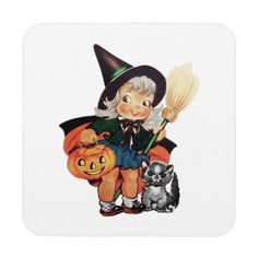 Little Girl in Trick-or-Treat Costume Beverage Coaster - retro gifts style cyo diy special idea