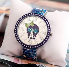 Sugar Skull Watch - Vintage Touch - Heart - Strass - Blue