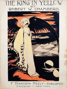 Robert W. Chambers - «The King in Yellow», circa 1895. Ilustración del propio Chambers para la cubierta de su famosa antología de relatos de terror (en castellano, «El rey de amarillo»).