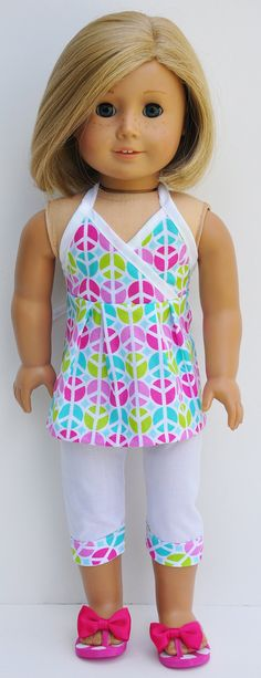 American Girl Clothes  Peace Sign Halter by LoriLizGirlsandDolls, $24.00