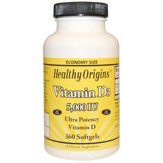 Healthy Origins, ビタミンD3, 5,000 IU, 360ソフトゼリー - iHerb.com