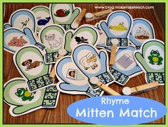 Mitten Match activity for rhyme. 30 colorful pairs!