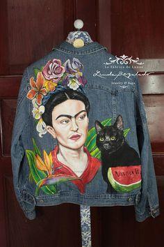 Chaqueta pintada a mano Frida Kahlo y Diego
