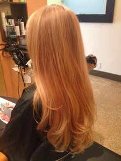 Blonde hair color on long hair