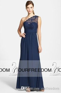 2015 New Formal Bridesmaid Dresses One Shoulder Sleeveless Lace A Line Long Chiffon Summer Beach Navy Blue Black Maid of honor Prom Gowns