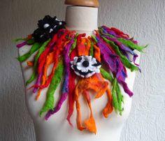 Felted wool necklace lariat belt scarf handmade par FeltedArtToWear, £45.00