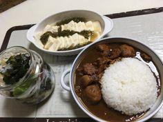 チキンカレーと豆腐めかぶとわかめサラダと。(9/29分)