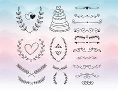 Wedding Elements Cake Hearts Cutting File Set in by PrintShapes