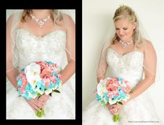 Great look with sparkling choker and Coral/Turquoise Orchid Bouquet.  Photography by McLaughlinPhotoVideo.com.  Hilton Key Largo Wedding.
