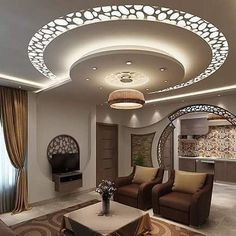 Choose from the largest collection of Latest False Ceiling Design & Decorating Ideas to add style. Discover best False Ceiling inspiration photos for remodel & renovate, here. Gypsum Ceiling Design, Interior Ceiling Design, House Ceiling Design, Ceiling Design Living Room, Bedroom False Ceiling Design, Ceiling Light Design, Home Ceiling, Ceiling Decor, Living Room Designs