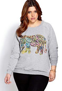 Tribal Print Elephant Sweatshirt | FOREVER21 PLUS - 2000071434 #F21Crush