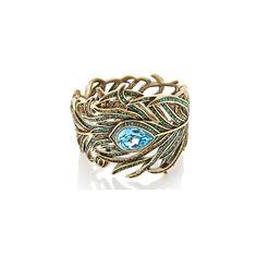 "Heidi Daus ""Pretty as a Peacock"" Crystal Bangle Bracelet ($270) ❤ liked on Polyvore"