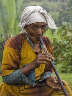 Old lady Smoking in Dorze, Ethiopia