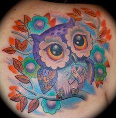 Colorful Owl Tattoo