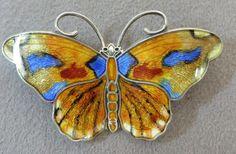 Hroar Prydz Oslo Norway Enamel Butterfly Brooch Sterling Silver