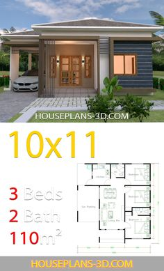 2 Bedroom Cabins for Sale . 2 Bedroom Cabins for Sale . House Design with 3 Bedrooms Hip Tiles En 2020 Hip Roof Design, Modern Roof Design, Gable Roof Design, House Roof Design, Simple House Design, Simple House Plans, Beautiful House Plans, Three Bedroom House Plan, Bedroom House Plans