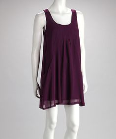Take a look at this Wine Pocket Swing Dress by Buy in America on #zulily today!