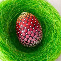 Easter Egg on marble rock Dotart Mandala Easter Egg Ostern Ei