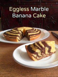 Eggless Marble Banana Cake (Yum & G approve) Add of baking soda instead of Eggless Banana Cake Recipe, Eggless Desserts, Eggless Recipes, Eggless Baking, Homemade Cake Recipes, Banana Recipes, Easy Desserts, Egg Free Desserts, Vegan Desserts