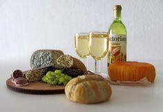 LOVE THIS! Wine, Bread, Meat and Cheese Set  ~  1/6 scale for 12-inch fashion dolls by OneSixthSense