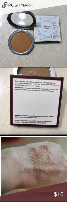 Pur Mineral Glow Bronzer Pur Mineral Glow Bronzer. Only used once to swatch. Great price. Perfect all around bronzer. Pur Minerals Makeup Bronzer