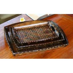 Novica 3 Piece Java Romance Bamboo Batik Tray Set