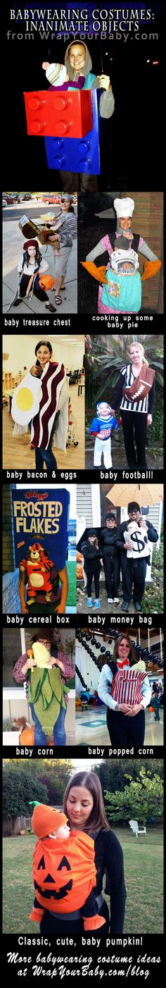 Unique babywearing costume ideas for Halloween: baby as various inanimate objects!  Don't miss these great ideas!