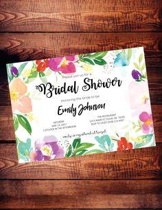 Bridal shower invitation - digital download - customize - watercolor flowers