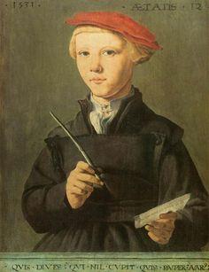 Portrait of a young scholar, 1531 by Maerten van Heemskerck. Mannerism (Late Renaissance). portrait. Museum Boijmans van Beuningen, Rotterdam, Netherlands